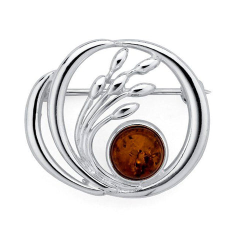 Amber Swirl Bud Brooch from the Brooches collection at Argenteus Jewellery