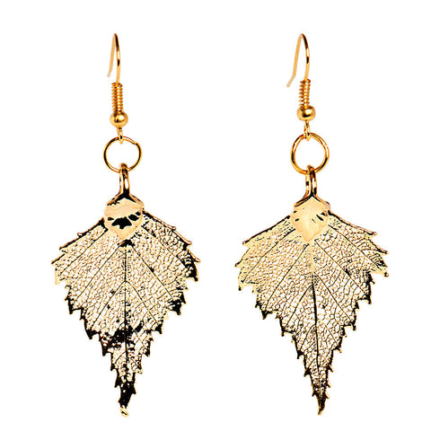 Gold-plated Birch Leaf Earrings from the Earrings collection at Argenteus Jewellery