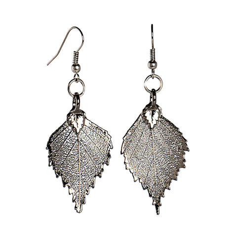 Platinum-plated Birch Leaf Earrings from the Earrings collection at Argenteus Jewellery