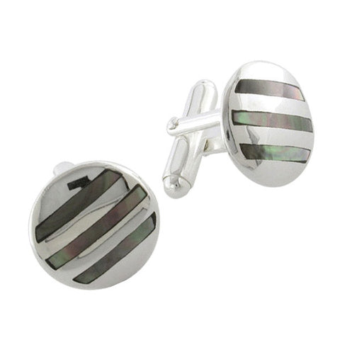 Sterling Silver With Grey Mother-of-Pearl Stripes Cufflinks
