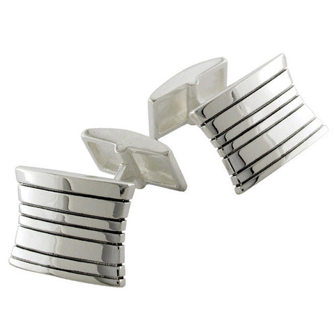 Sterling Silver Black Lines Cufflinks from the Cufflinks collection at Argenteus Jewellery