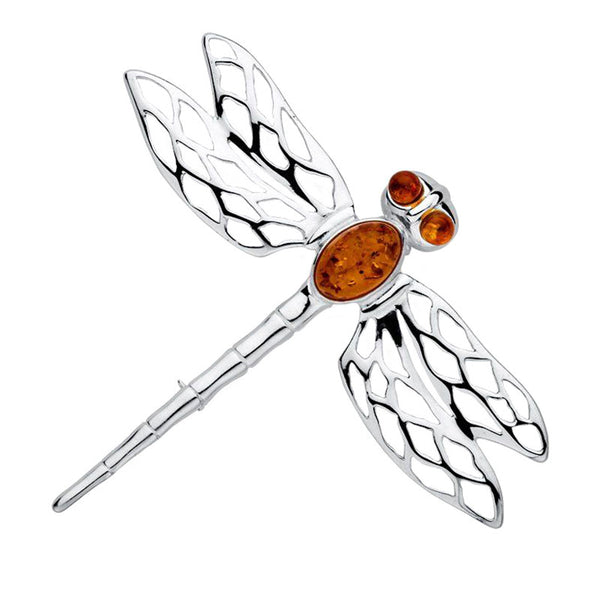Amber Dragonfly Brooch from the Brooches collection at Argenteus Jewellery