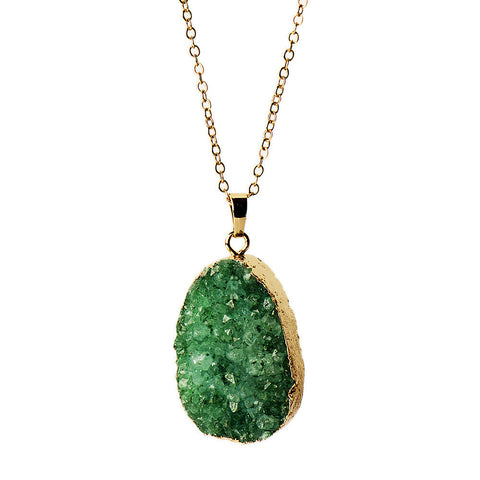 Gold-plated Green Druzy Oval Necklace from the Necklaces collection at Argenteus Jewellery