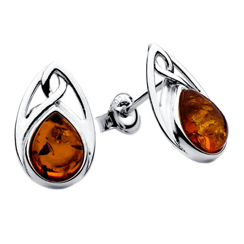 Amber Celtic Teardrop Stud Earrings
