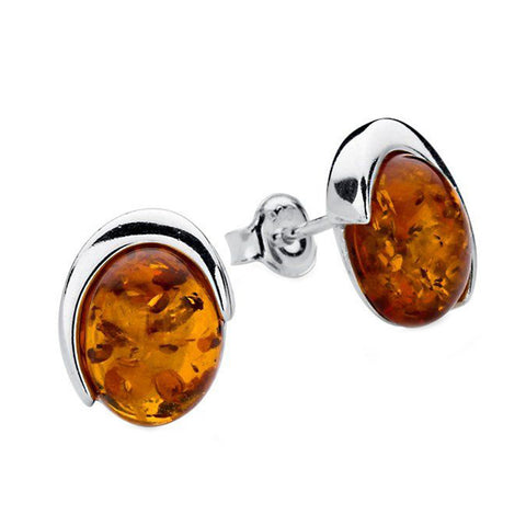 Amber Oval Edge Stud Earrings from the Earrings collection at Argenteus Jewellery