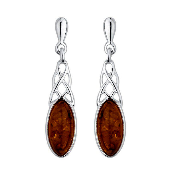 Amber Celtic Drop Earrings from the Earrings collection at Argenteus Jewellery