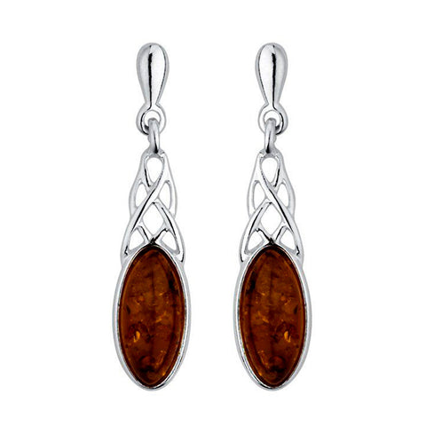 Amber Celtic Drop Earrings