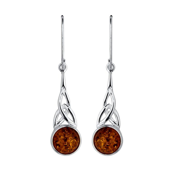 Amber Celtic Triangle Drop Earrings from the Earrings collection at Argenteus Jewellery