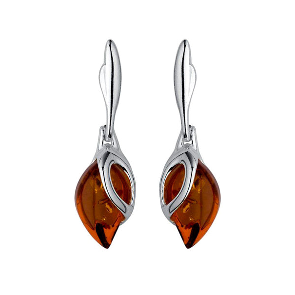 Amber Leaf Drop Earrings from the Earrings collection at Argenteus Jewellery