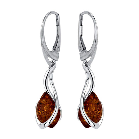 Amber Long Curl Drop Earrings from the Earrings collection at Argenteus Jewellery