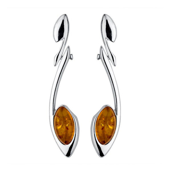Amber Swoop Drop Earrings from the Earrings collection at Argenteus Jewellery