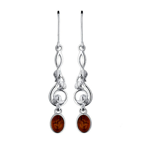 Amber Leaves Drop Earrings from the Earrings collection at Argenteus Jewellery