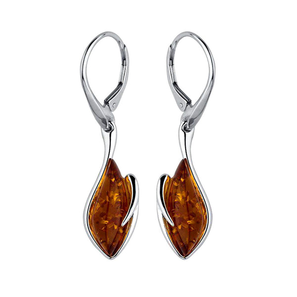 Amber Deep Flame Drop Earrings from the Earrings collection at Argenteus Jewellery