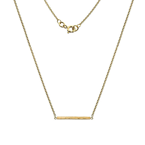 Gold Hammered Bar Necklace from the Necklaces collection at Argenteus Jewellery
