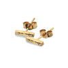Gold Hammered Bar Stud Earrings from the Earrings collection at Argenteus Jewellery