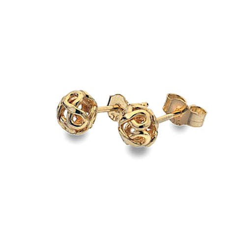 Gold Infinity Bead Stud Earrings from the Earrings collection at Argenteus Jewellery