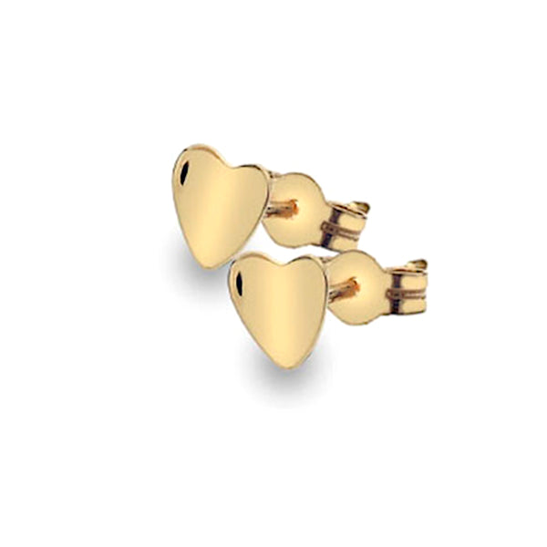 Gold Curvy Heart Stud Earrings from the Earrings collection at Argenteus Jewellery