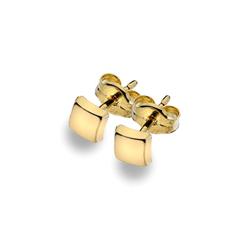 Gold Square Stud Earrings from the Earrings collection at Argenteus Jewellery