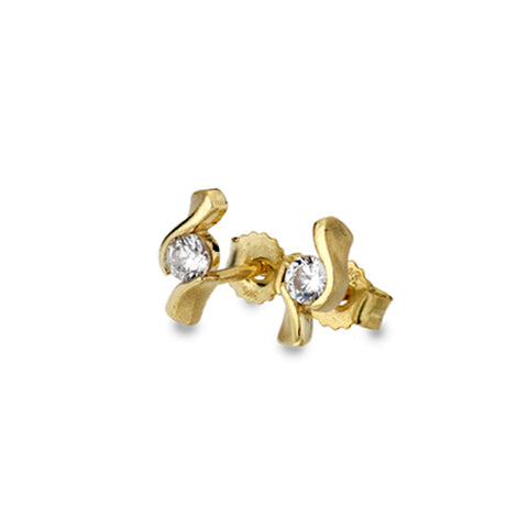 Gold Curvy Stud Earrings from the Earrings collection at Argenteus Jewellery