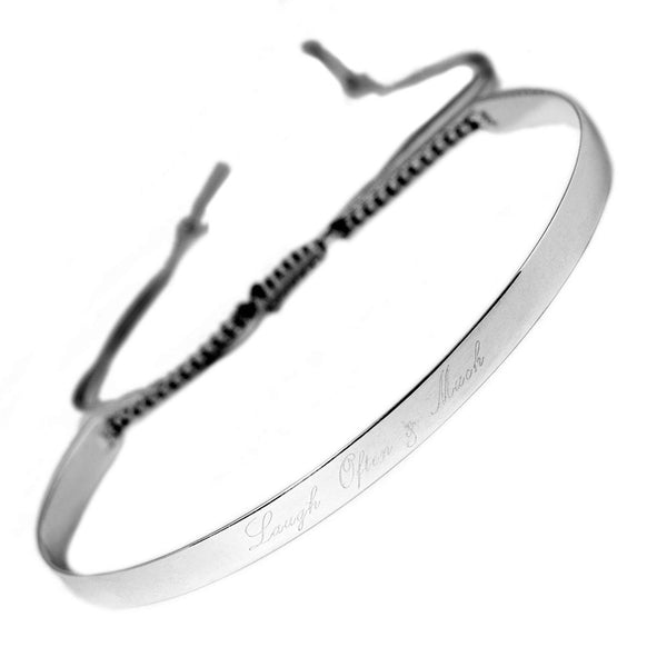 Narrate Laugh Often And Much Engraved Bangle In Silver from the Bangles collection at Argenteus Jewellery