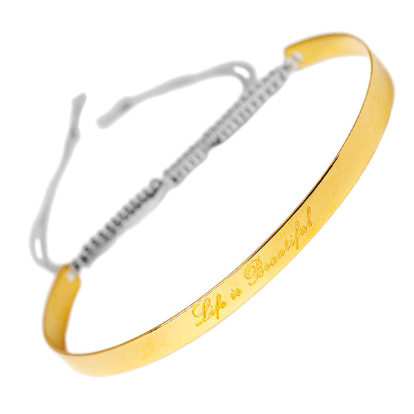 Narrate Life Is Beautiful Engraved Bangle In Yellow Gold-Plate from the Bangles collection at Argenteus Jewellery
