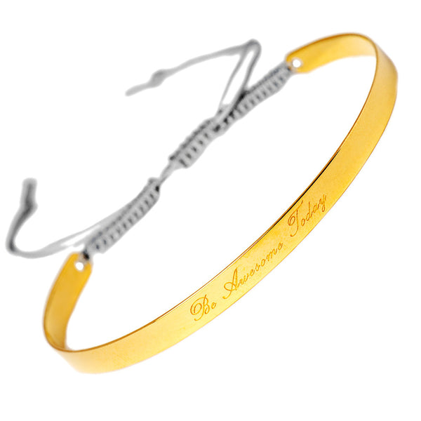 Narrate Be Awesome Today Engraved Bangle In Yellow Gold-Plate from the Bangles collection at Argenteus Jewellery