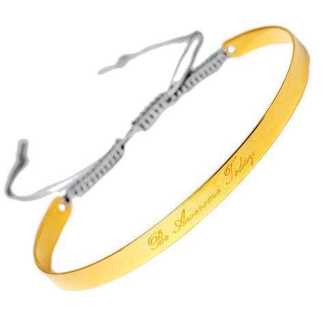 Narrate Be Awesome Today Engraved Bangle In Yellow Gold-Plate