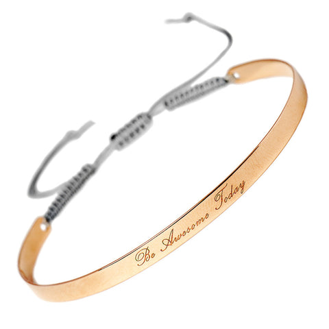 Narrate Be Awesome Today  Engraved Bangle In Rose-Gold Plate