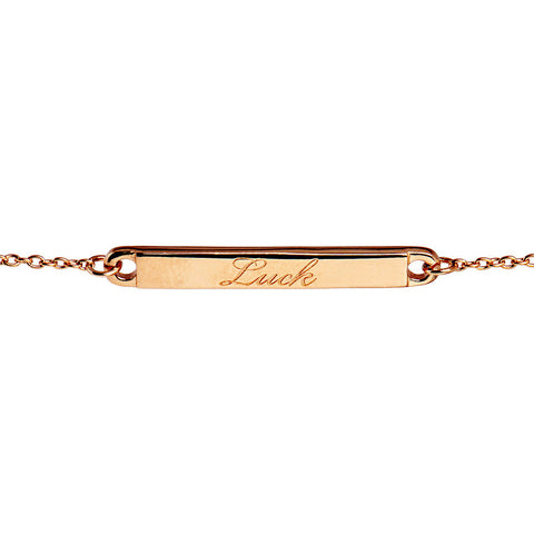 Narrate Luck Engraved Bracelet In Rose-Gold Plate from the Bracelets collection at Argenteus Jewellery