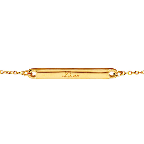 Narrate Love Engraved Bracelet In Yellow Gold-Plate