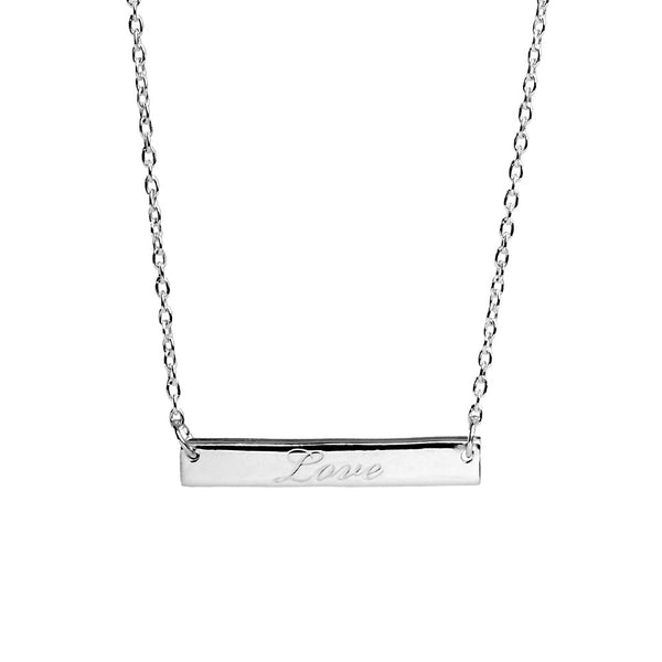 Narrate Love Engraved Necklace In Silver from the Necklaces collection at Argenteus Jewellery