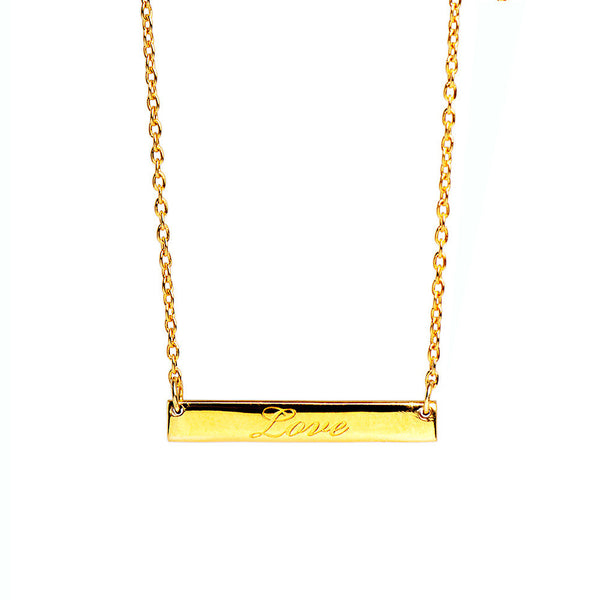 Narrate Love Engraved Necklace In Yellow Gold-Plate from the Necklaces collection at Argenteus Jewellery
