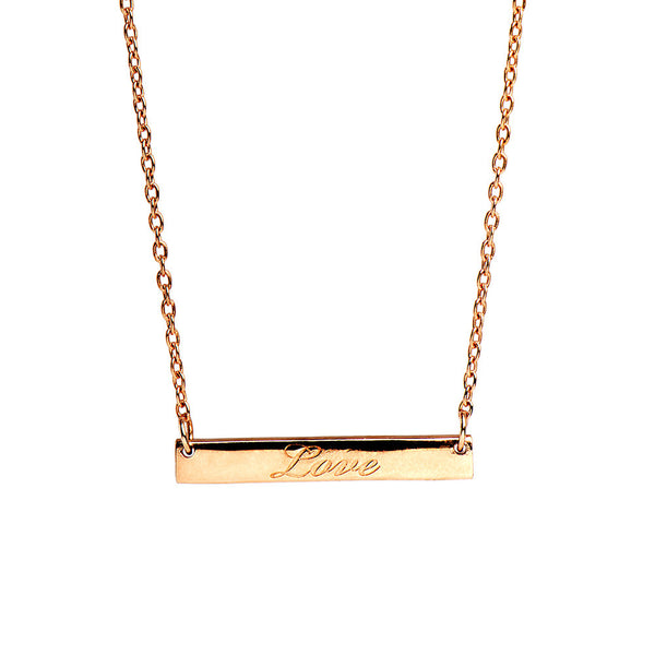 Narrate Love Engraved Necklace In Rose-Gold Plate from the Necklaces collection at Argenteus Jewellery
