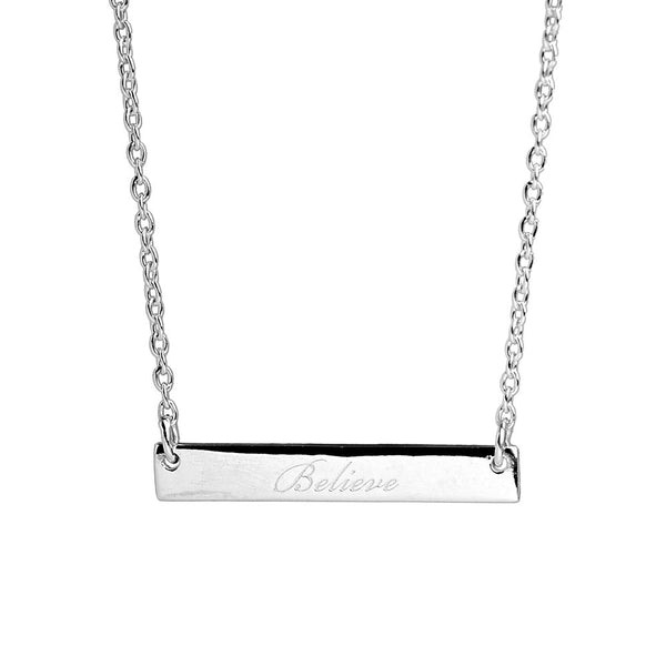 Narrate Believe Engraved Necklace In Silver from the Necklaces collection at Argenteus Jewellery