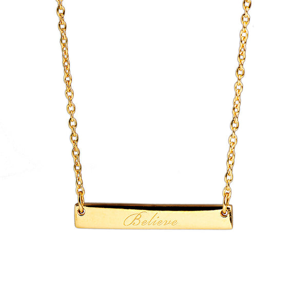 Narrate Believe Engraved Necklace In Yellow-Gold Plate from the Necklaces collection at Argenteus Jewellery