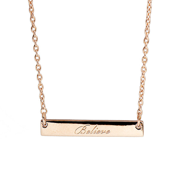 Narrate Believe Engraved Necklace In Rose-Gold Plate from the Necklaces collection at Argenteus Jewellery