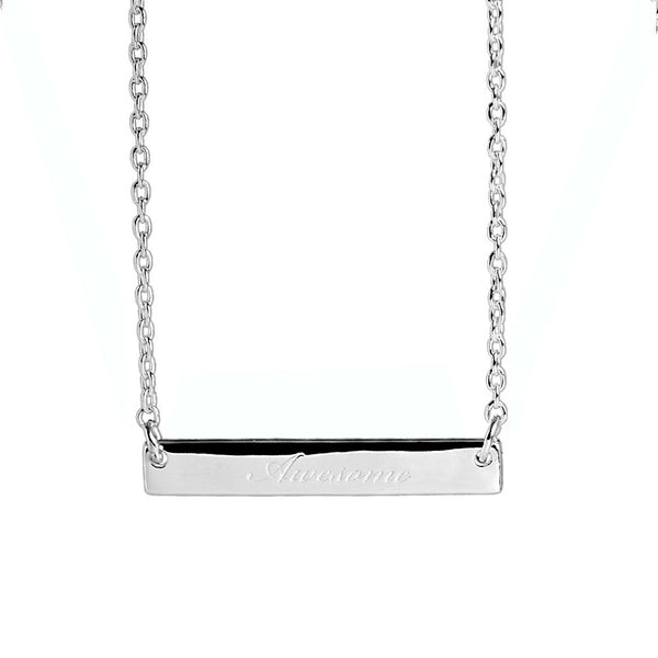 Narrate Awesome Engraved Necklace In Silver from the Necklaces collection at Argenteus Jewellery