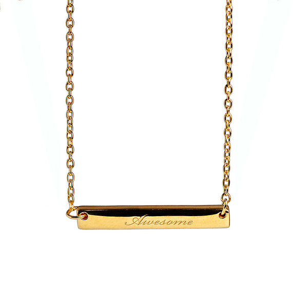 Narrate Awesome Engraved Necklace In Yellow-Gold Plate from the Necklaces collection at Argenteus Jewellery