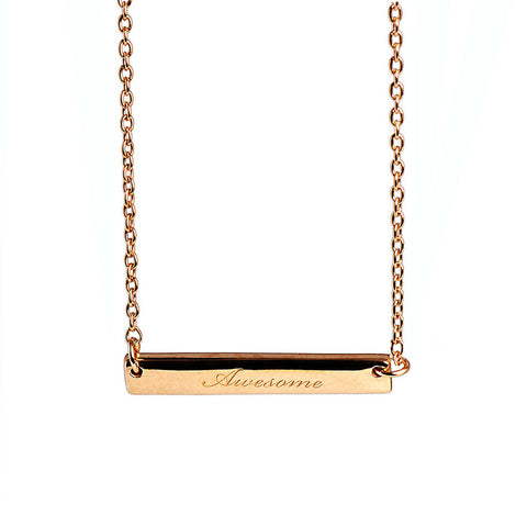 Narrate Awesome Engraved Necklace in Rose Gold-Plate from the Necklaces collection at Argenteus Jewellery