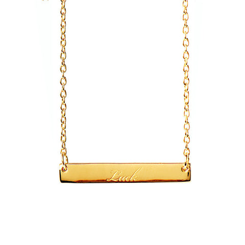 Narrate Luck Engraved Necklace in Yellow-Gold Plate from the Necklaces collection at Argenteus Jewellery