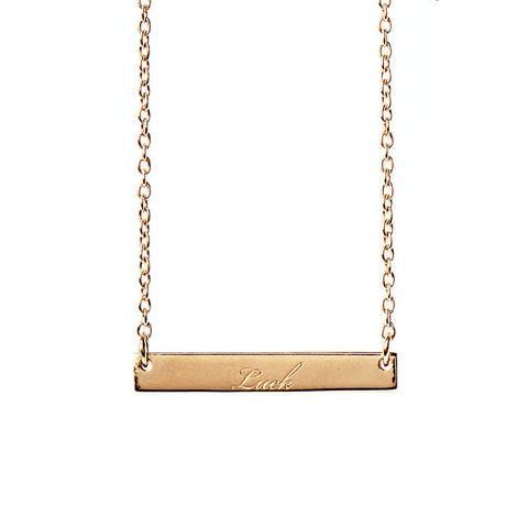 Narrate Luck Engraved Necklace In Rose Gold-Plate from the Necklaces collection at Argenteus Jewellery