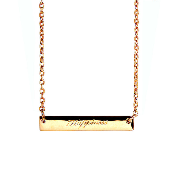 Narrate Happiness Engraved Necklace In Rose Gold-Plate from the Necklaces collection at Argenteus Jewellery
