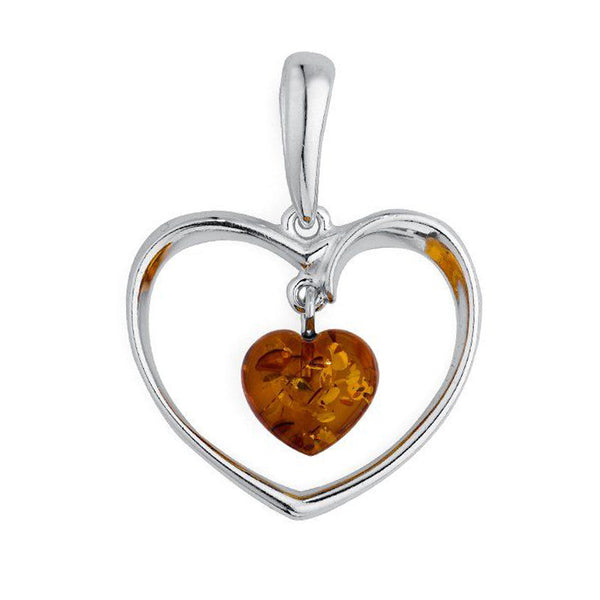 Amber Heart Pendant from the Pendants collection at Argenteus Jewellery