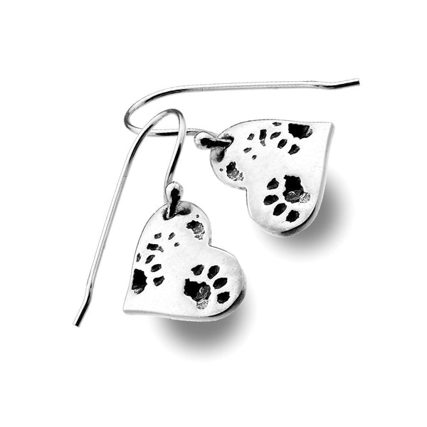 Dog Paw Heart Earrings from the Earrings collection at Argenteus Jewellery