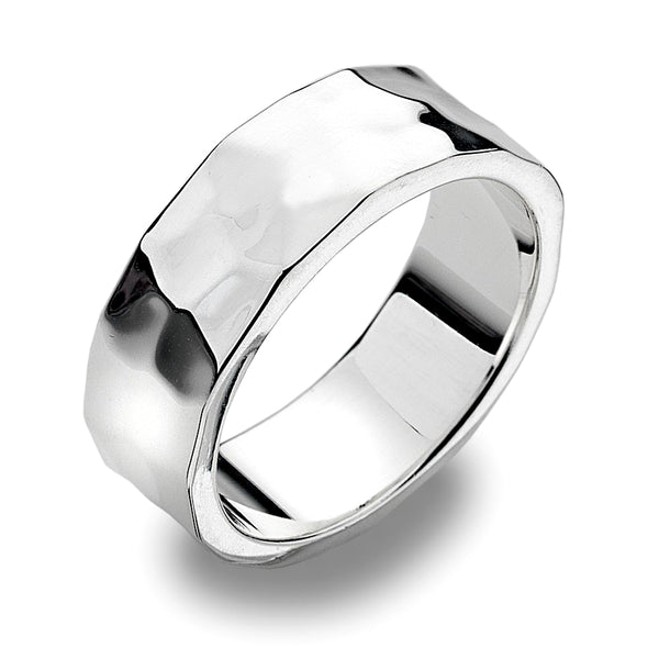 7mm Flat Band Ring - Hammer Finish from the Rings collection at Argenteus Jewellery
