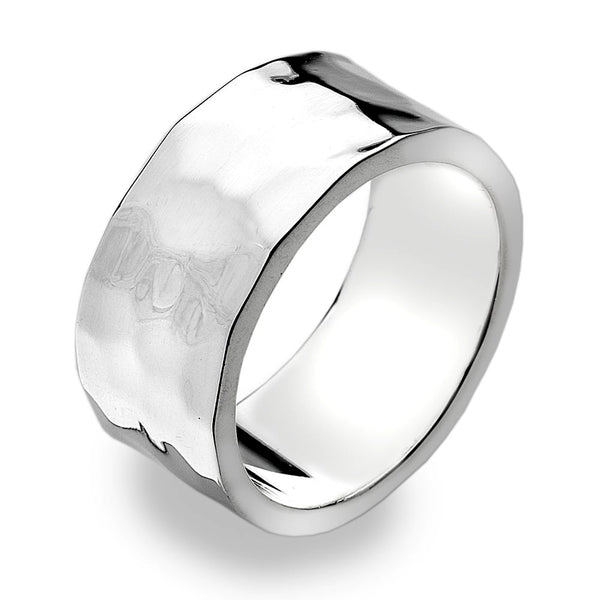 9mm Flat Band Ring - Hammer Finish from the Rings collection at Argenteus Jewellery
