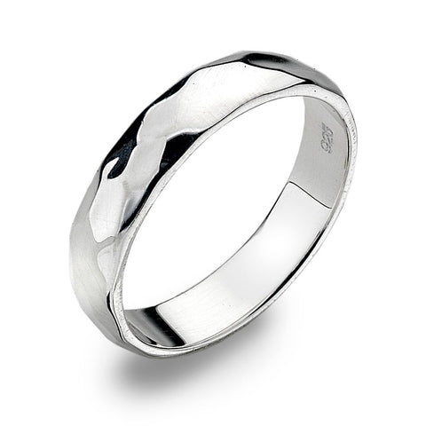 4mm D-Profile Band Ring - Hammer Finish from the Rings collection at Argenteus Jewellery