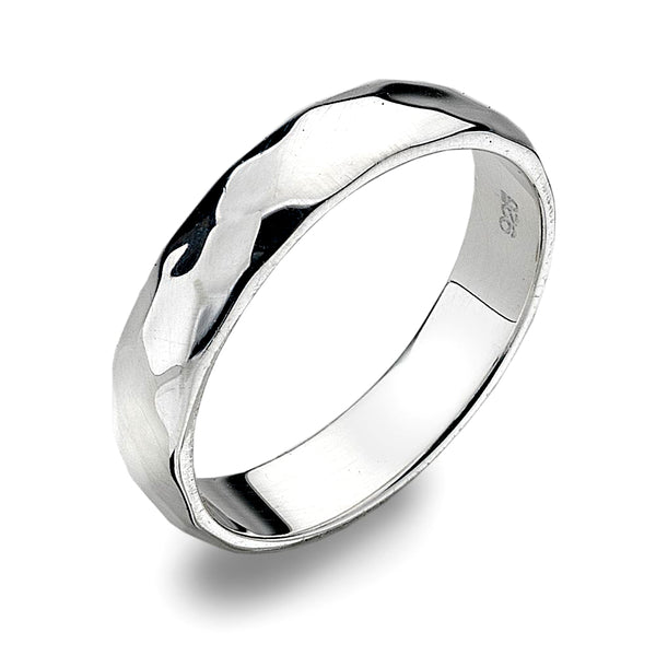 6mm D-Profile Band Ring - Hammer Finish from the Rings collection at Argenteus Jewellery