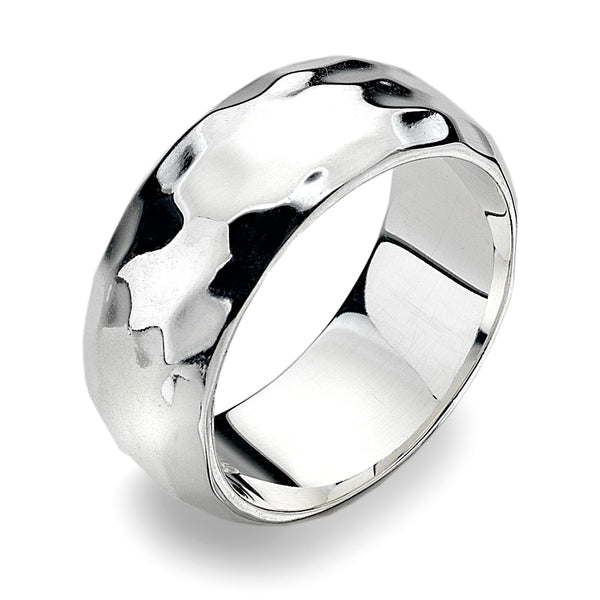 8mm D-Profile Band Ring - Hammer Finish from the Rings collection at Argenteus Jewellery