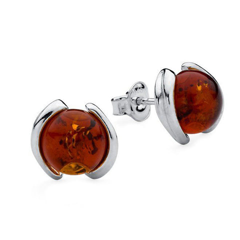 Amber Round Stud Earrings from the Earrings collection at Argenteus Jewellery